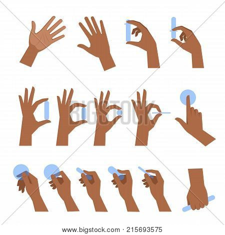 Various gestures of black human hands isolated on a white background. Flat illustration set of afro-american hands holding objects in a different situations. Vector design element for infographic, web