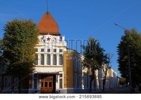 House with Red star soviet symbol on the roof in Grodno Belarus