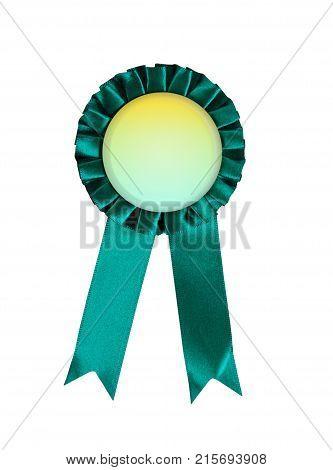 Green award winning ribbon rosette isolated on white