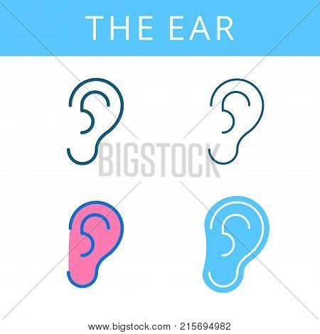 The internals outline icon set. Ear and hearing symbols. Viscera and inside organs vector linear pictograms. Thin line medical and anatomy infographic elements for web, presentation, networks.