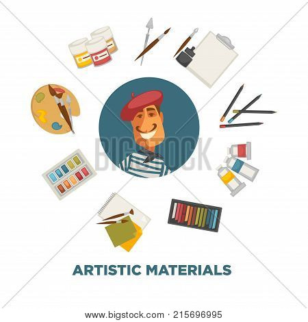 Artistic materials and French painter. Colorful pencils, oil and aquarelle paint, bright chalks, brushes and paper sheets, big palette, empty pad, bottles of gouache and ink vector illustrations.