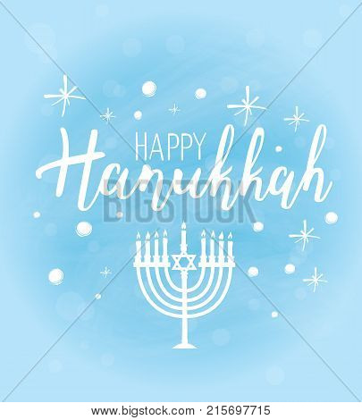 Vector illustration of Happy Hanukkah. Lettering text sign on snowy sky background. Judaism symbol. Hanukkah logo for greeting card template