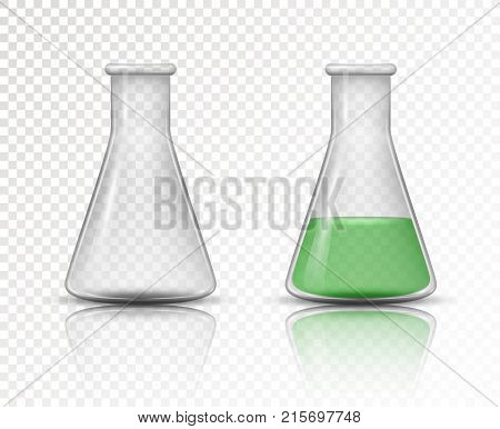 Laboratory transparent glassware instruments. Empty and Filled flask for chemical lab in realistic style. Vector illustration