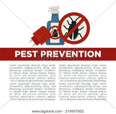 Pest prevention means informative poster with sample text, spray bottle of chemicals with crossed bug silhouette on lable and special electric tool that plugs in power socket vector illustrations.