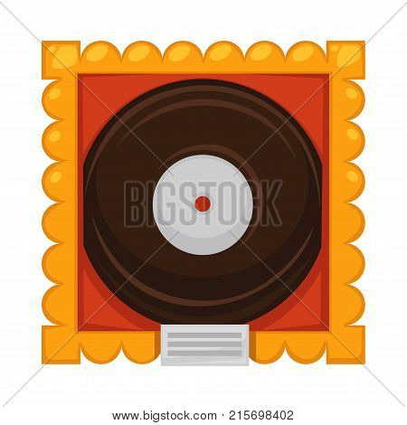 Vinyl disc inside gold frame under glass cover as award for great music achievements or best song record isolated cartoon flat vector illustration on white background. Honorable prize for musicians.