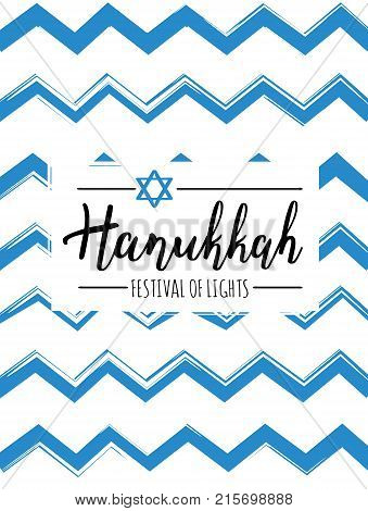 Vector illustration of Hanukkah (Festival of lights). Lettering text sign isolated on blue zigzags background. Judaism symbol. Hanukkah logo for greeting card template