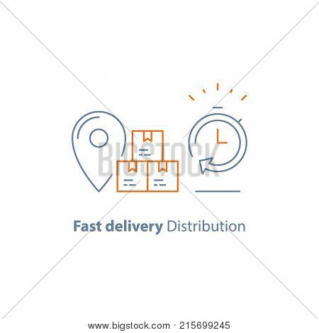Express order delivery, distribution and shipping service, logistics company, send parcel, receive box, pick up point, time period, vector line icon thin stroke