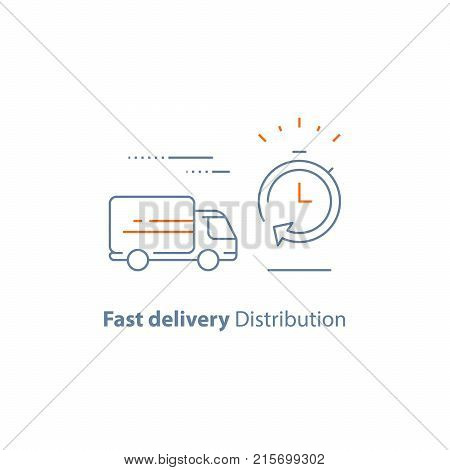 Fast delivery services, logistics company, waiting time period, order delay, move truck, order express shipping, vector line icon, thin stroke