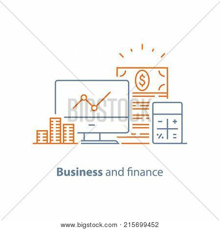 Income increase, financial performance analytics, long term investment, fund management, revenue growth, interest rate, dividends graph, productivity report, stock market, vector line icon thin stroke