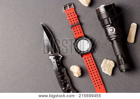 Adventure objects on black background Useful for adventure military hunting outdoor protect
