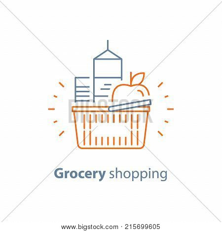 Grocery basket full of food, shopping red basket and products, consumption concept, retail store, vector line icon, thin stroke