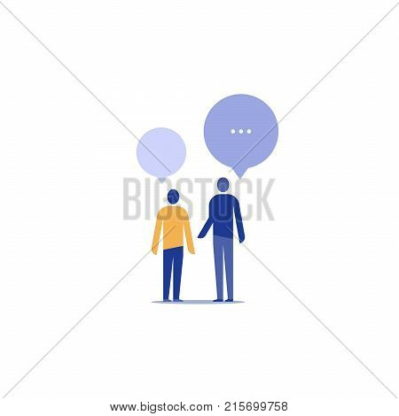 Two people talking, discussing a project, communication and negotiation concept, team work, coworkers arguing, vector icon, flat illustration