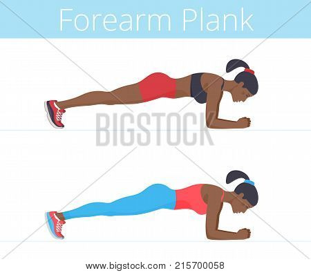 Beautiful black young women are doing the forearm plank exercise. Flat illustration of afro-american sporty girls training in the plank position. Vector active people set isolated on white background.