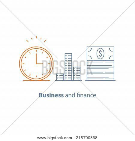 Income increase, financial strategy, investment return, time is money, fund raising, long term, pension saving, revenue growth, interest rate, bond dividend, stock market, vector line icon thin stroke