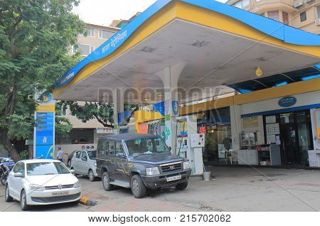 Mumbai India - October 11, 2017: Unidentified People Buy Petrol At Bharat Petroleum Petrol Station.