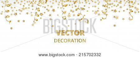 Holiday background. Isolated golden garland border, frame. Hanging baubles and falling confetti. Great for Christmas, New year cards, birthday and wedding invitations, banners, party posters.