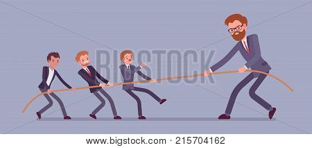 Tug of war, men vs giant. Individuals and company struggle to get more power and control on market, monopolist discriminating competitive firm. Vector flat style cartoon business concept illustration