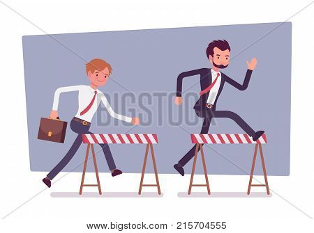 Businessmen running over obstacles. Young office workers jumping over barrier, going forward through financial difficultes and market hardships. Vector flat style cartoon business concept illustration