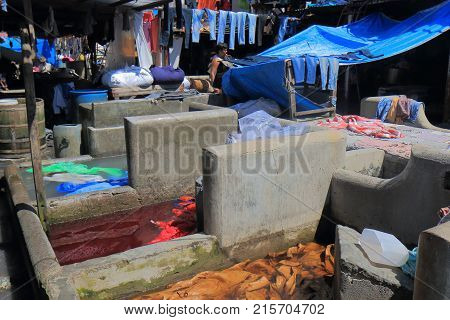 Mumbai India - October 12, 2017: Unidentified Man Works In Dhobi Ghat Laundromat Mumbai.