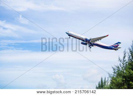 Phuket - Thailand - Otober 23,2017 :aeroflot Airbus 330-300 Airplane Flying Take Off At Phuket Airpo