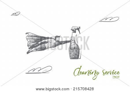 Cleaning service concept. Hand drawn superhero with clean equipment in his hand. Flying hero holds bottle with cleaning spray isolated vector illustration.