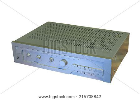 old music amplifier isolated on white background vintage object