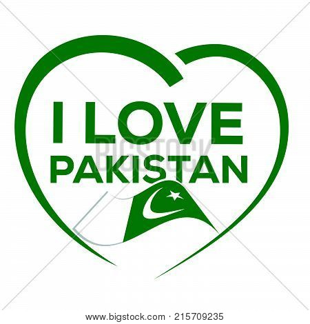 I love pakistan with outline of heart and flag of pakistan, icon design, isolated on white background.