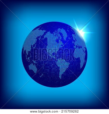 Vector dotted world map with dual code covering. Tecnology concept illustration. Earth globe with dotted continents on blue space background