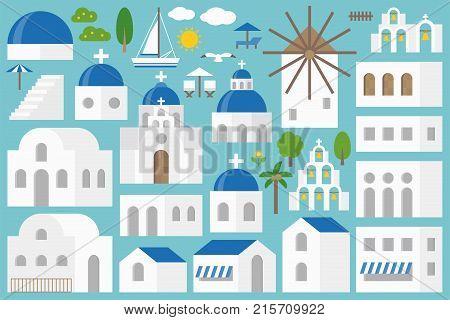 Santorini elements constructor set include church, bell, beach chair, umbrella, seagull, tree, building in flat design for make an Island of Santorini, greece