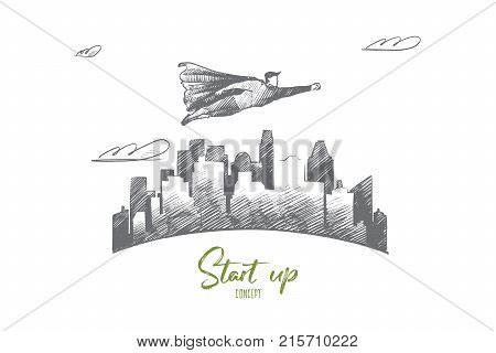 Start up concept. Hand drawn superhero flying under skyscrapers. Flying hero as symbol of start of new business isolated vector illustration.