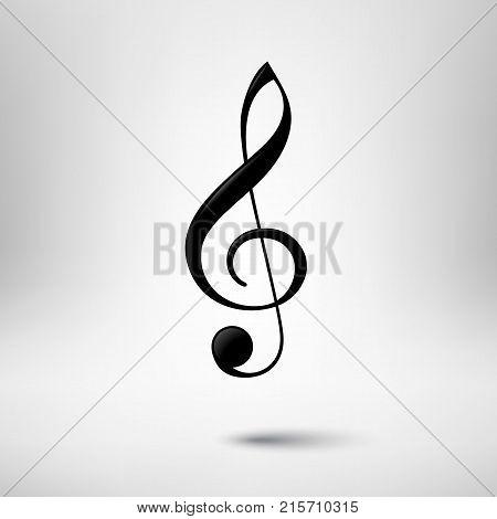 Treble clef vector icon. Music design element