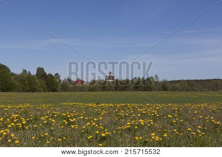 View of the Church of the Intercession of the Holy Virgin in the village Chushevitsy, Vologda region, Russia