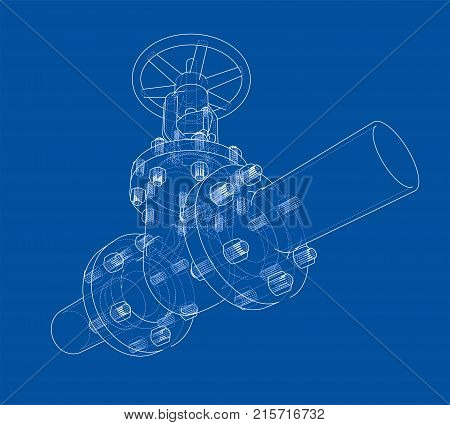 Industrial valve. Vector illustration isolated on white background. Vector rendering of 3d