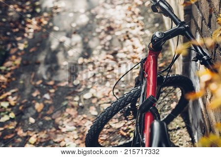 Mountain Bicycle Stands Near A Brick Wall View From Bikers Eyes. Holiday Weekend Activity