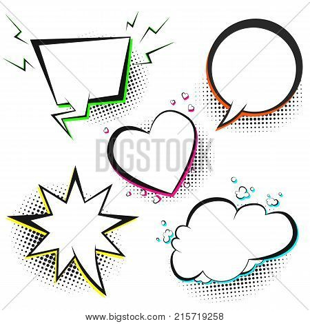 Set of white vector retro comic speech bubbles with color shadow on black halftone background in pop art style. Black outline blank star heart cloud balloons for comics book web design