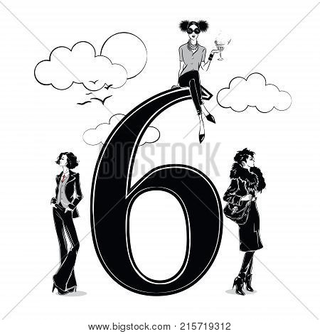 Fashion girls in sketch style with number six. Vector illustration.