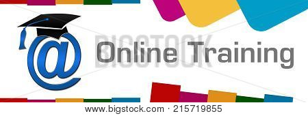 Online training concept image with text and related symbol.