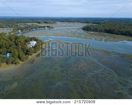 Aerial view of waterfront properties in South Carolina, USA