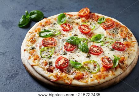 Pizza with Cherry Tomatoes and Jalapeno Pepper