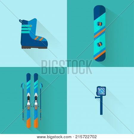 4 Winter sport icons collection. Skiing and snowboarding set equipment in flat style design. Elements for ski resort picture mountain activities vector illustration.