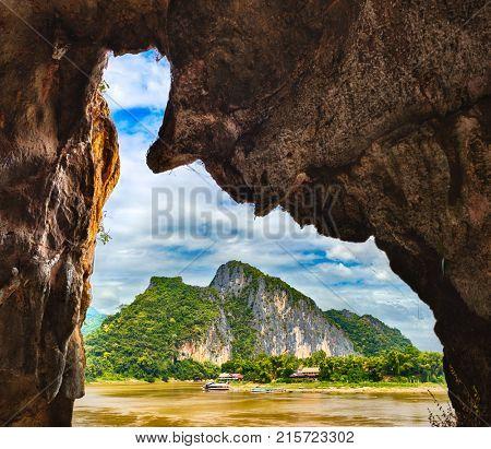 View  from the Pak Ou cave. Beautiful landscape. Luang Prabang. Laos.