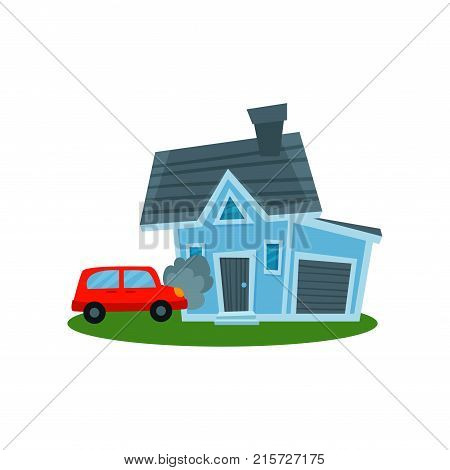 Auto crashing into wall of home, property insurance vector Illustration isolated on a white background