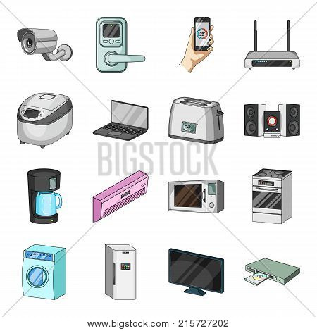 Modern household appliances cartoon icons in set collection for design.Household items vector symbol stock  illustration.