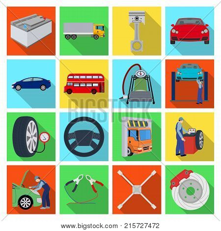 Car, lift, pump and other equipment flat icons in set collection for design. Car maintenance station vector symbol stock illustration .