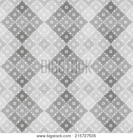 Abstract seamless black and white cubes background. Modern stylish texture. Repeating geometric tiles with mosaic.