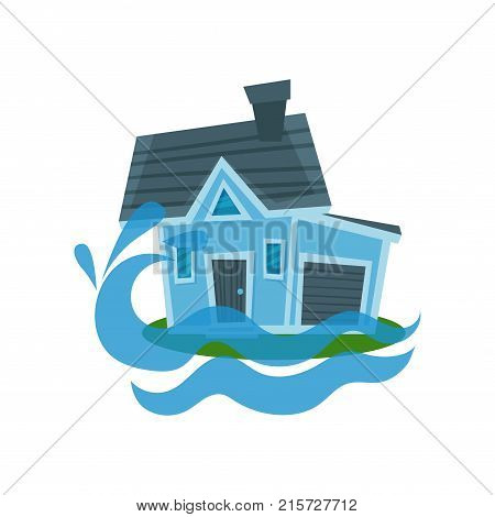 House sinking in a water, property insurance vector Illustration isolated on a white background