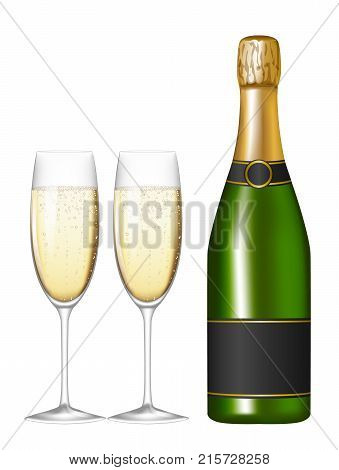 Champagne bottle and glasses isolated on white