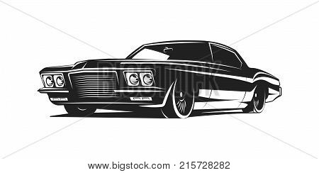Muscle car BLACK and white vector poster illustration