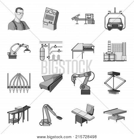 Technical progress and other  icon in monochrome style.Equipment and machinery of the enterprise icons in set collection.