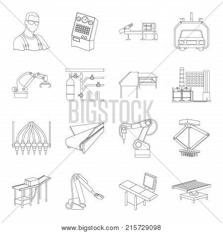 Technical progress and other  icon in outline style.Equipment and machinery of the enterprise icons in set collection.